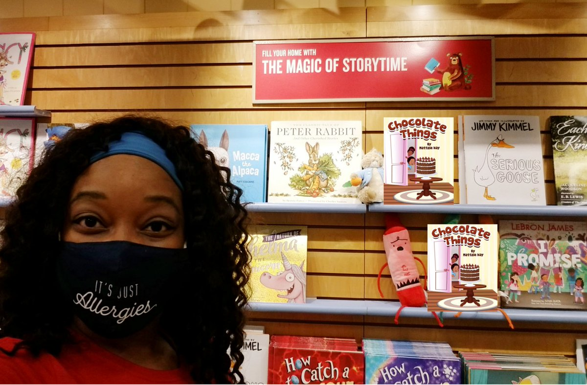 "😁 Making room on the shelf for my Children's Book ""Chocolate Things"", next to @KingJames #IPromise and @jimmykimmel #TheSeriousGoose! 🤗📚 #RepresentationMatters #TheMagicOfStorytime #BarnesAndNoble #ChocolateThings #KRYSPublishing"