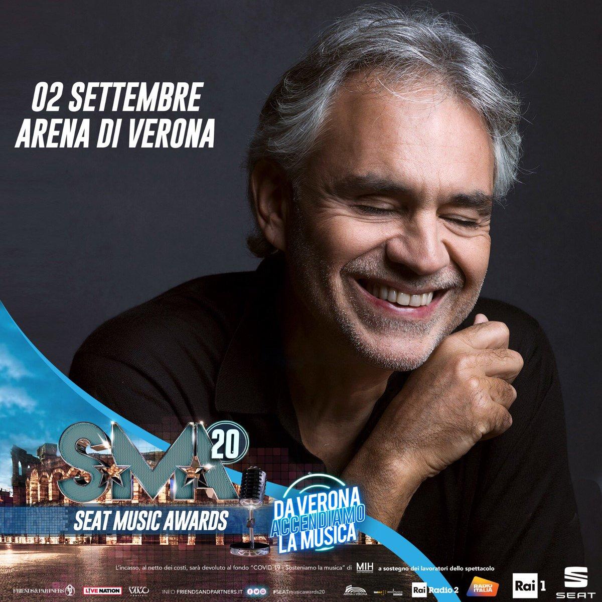 Andrea Bocelli sarà in diretta questa sera in prima serata su @RaiUno dall'Arena di Verona per i #SEATMusicAwards20  @SMAufficiale https://t.co/BK7UELR4C8