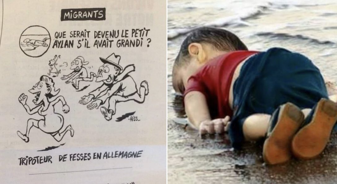 Let's not forget when #CharlieHebdo depicted Aylan Kurdi, the 3-year-old #refugee who drowned, would've grown up to be a sexual predator had he lived!  #France https://t.co/nkYJbcsQ5C