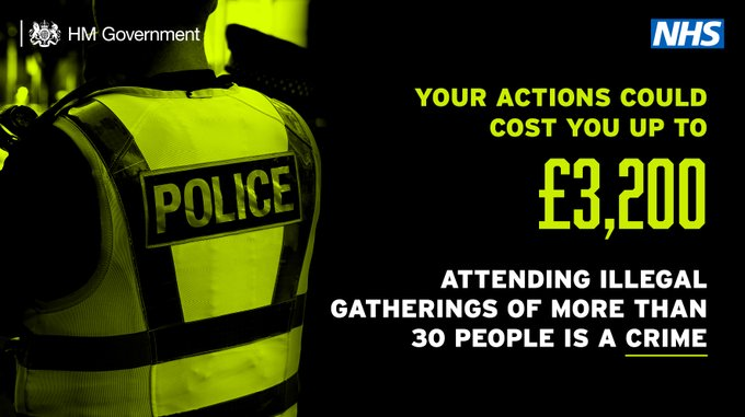 Neon green and black image of a police officer. Text: Your actions could cost you up to £3,200. Attending illegal gatherings of more than 30 people is a crime.