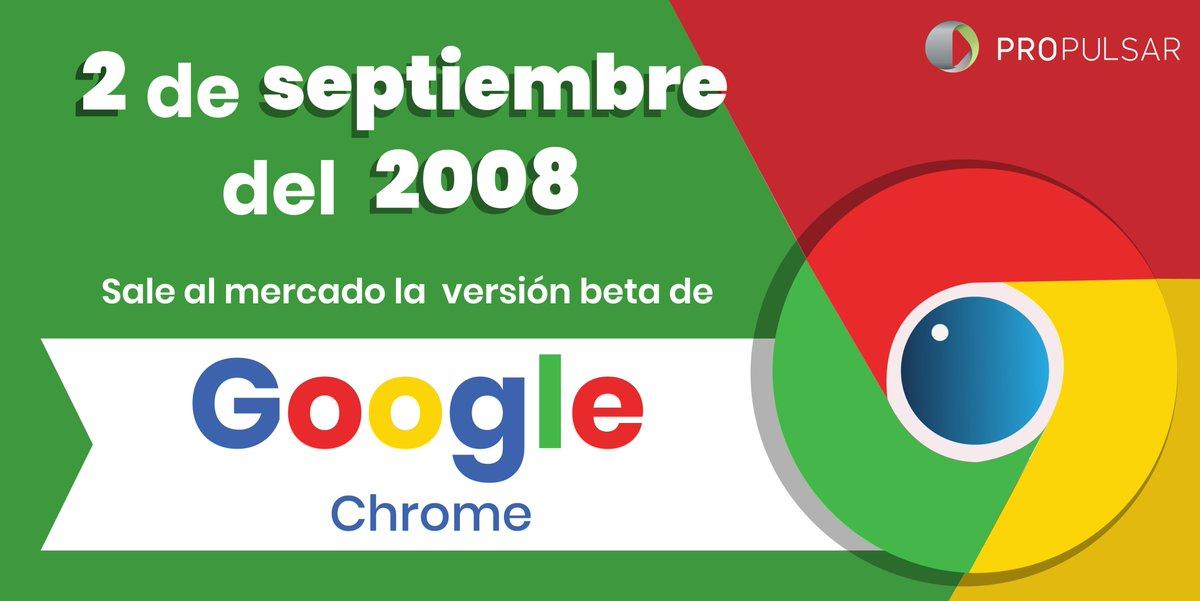 El 2 de septiembre del 2008 sale la primera versión de Google Chrome, navegador que hoy en día domina gran parte del mercado en su ramo.  Cuéntanos, ¿qué navegador utilizas? https://t.co/BBTP7Wbwve