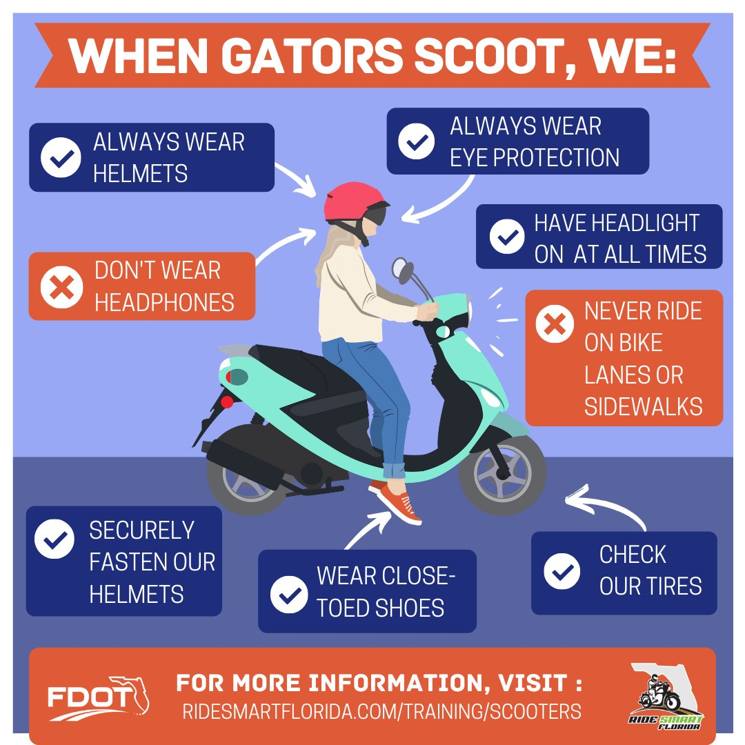 We know our Gators love their scooters, so don't forget to Ride Smart! @CUTRUSF @MyFDOT