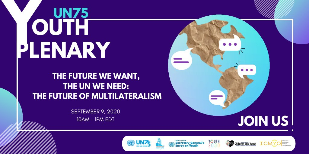 🗣Calling all young people! Mark your calendar for the @UN 75 #YouthPlenary next week to make your voice heard ahead of #UNGA75.   Learn more: https://t.co/L6HX5Nz0wS https://t.co/9xNrOAf6TL