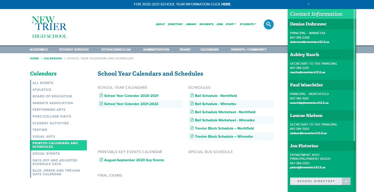 New Trier Hs On Twitter Calendars Schedules For The 2020 2021 School Year Are Available For Print At Https T Co Izocks3pxz