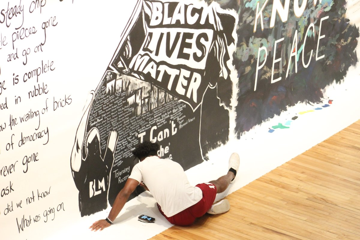 Senior linebacker Amarrian Brown of @BearsSports was recently selected to paint a #blm mural at the Hickory Museum: on.ncaa.com/9kh4a
