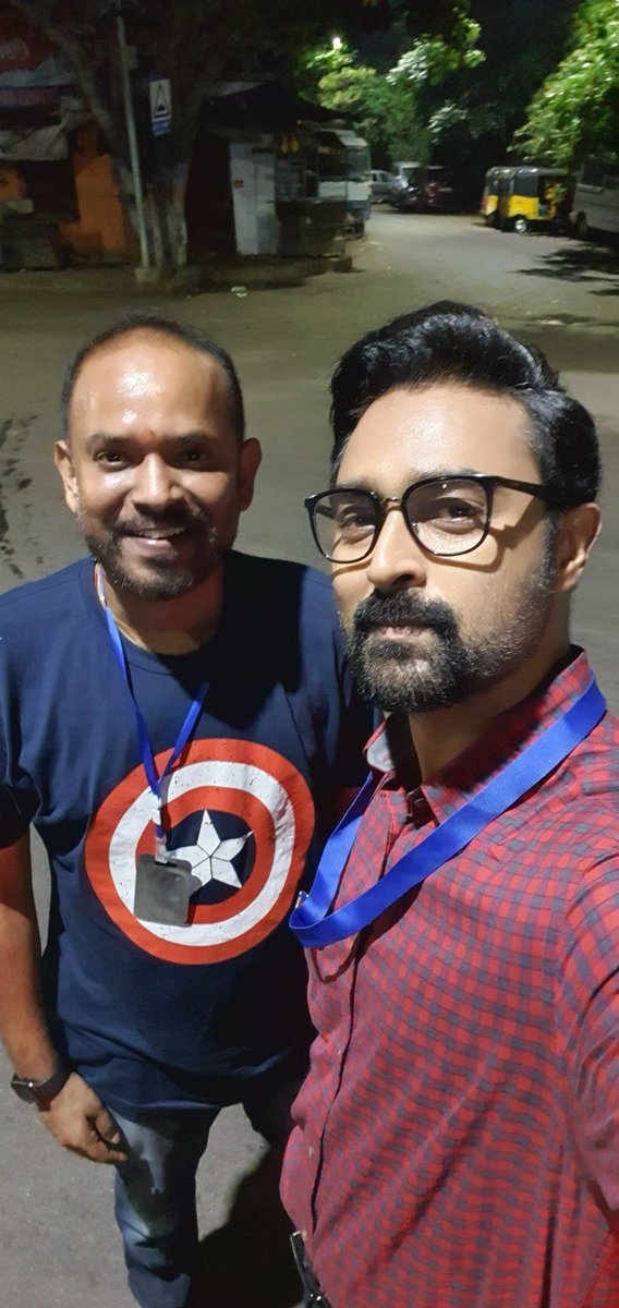 """How can i shoot in the night post lockdown and not post a selfie with the director and say """"burning midnight oil"""" ! So here it is...being in front of camera is liberating as for me. Glad machi @vp_offl  #BlackTicketCompany https://t.co/acguIaUbf9"""