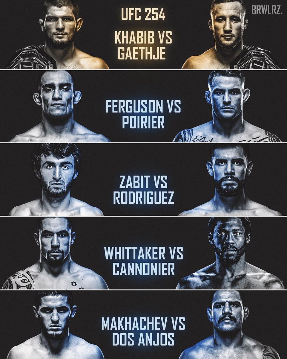 2 champion, 4 former champion, 4 title challengers. How do you like this card with full of killers. Best card of the year. #ufc254 https://t.co/iVs2LRORWw