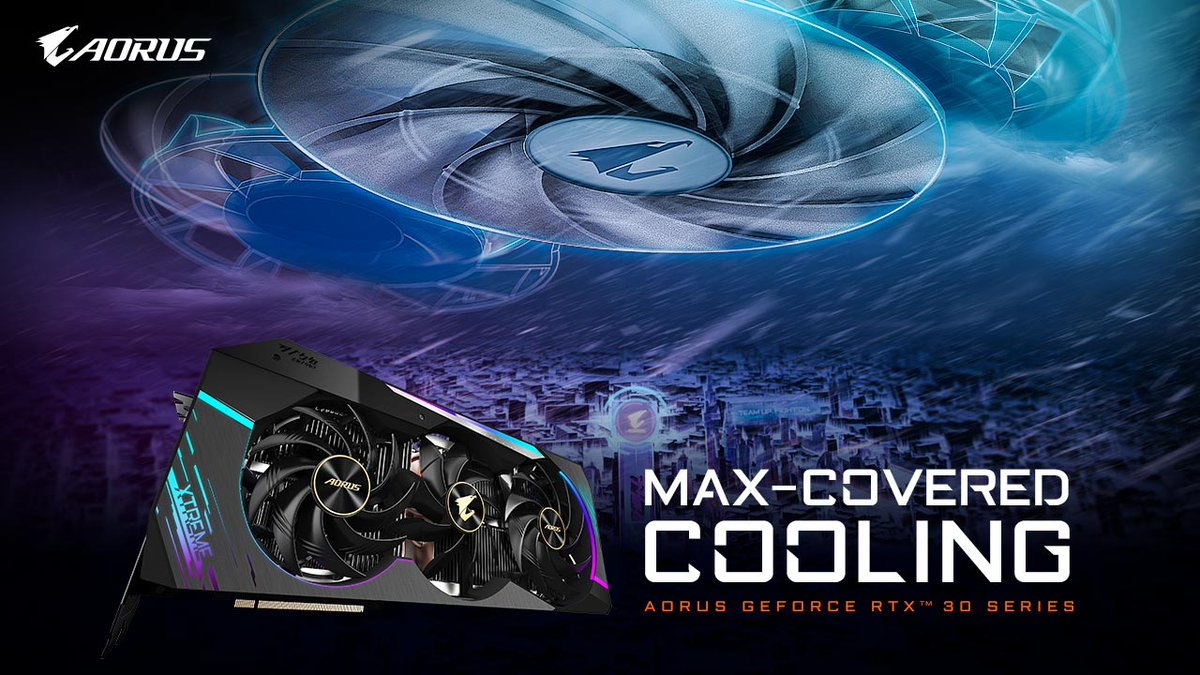 Incoming!!! Look out for MAX-Covered Cooling 💪😁  AORUS RTX 30 Series graphics cards, learn more 👇 https://t.co/dMj4fpvxfl https://t.co/Vpaou9Ypag