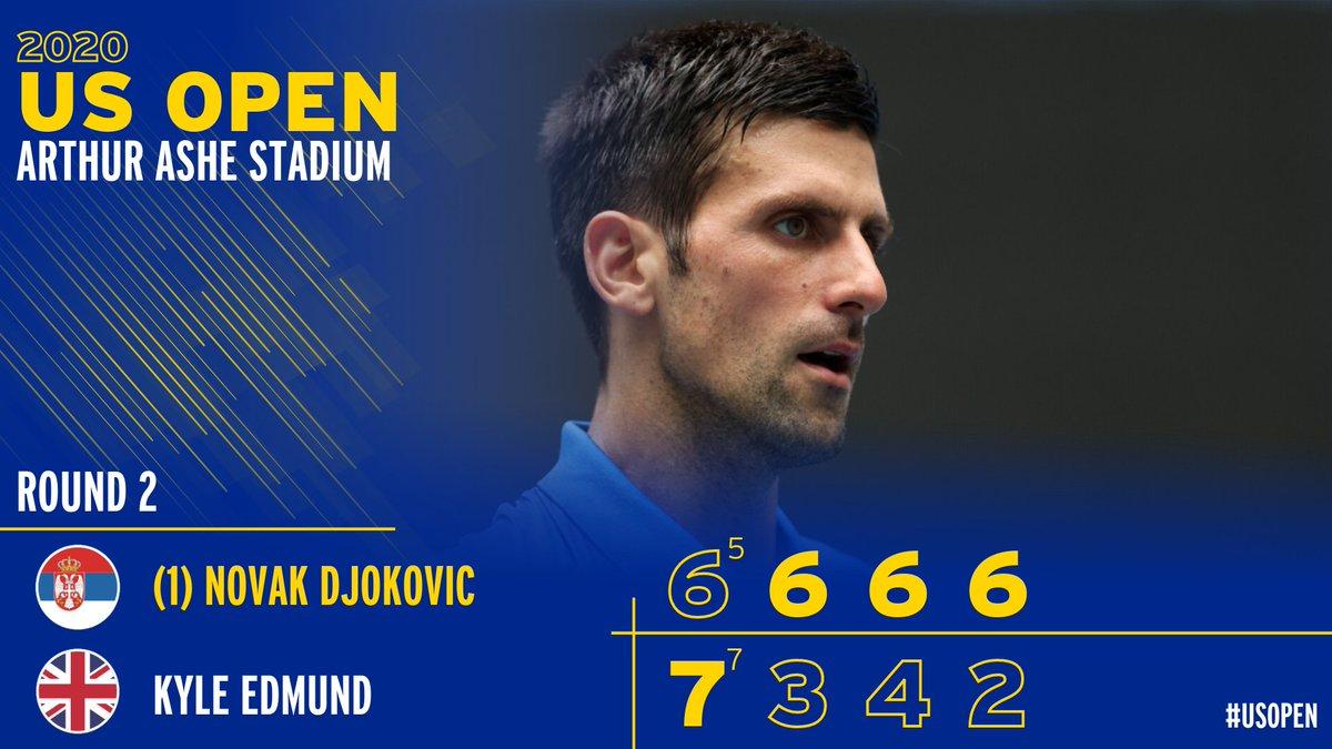 2020'deki yenilmezlik serisi devam ediyor: 25-0 💫  Novak Djokovic 6(5)-7(7), 6-3, 6-4 ve 6-2'lik setlerle Kyle Edmund'u geçerek bir sonraki turda Struff'un rakibi oluyor. #USOpen