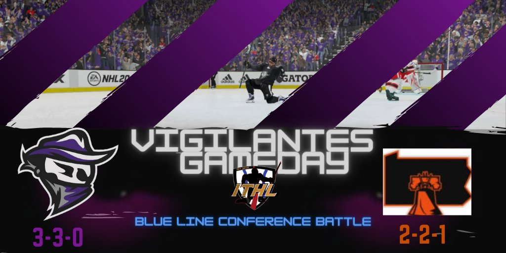 ‼️GAMEDAY‼️  The Vigilantes (2) face off against @EashlFly (3) in a Blue Line Conference battle.   #FearTheMask https://t.co/WbMN5hvn1T