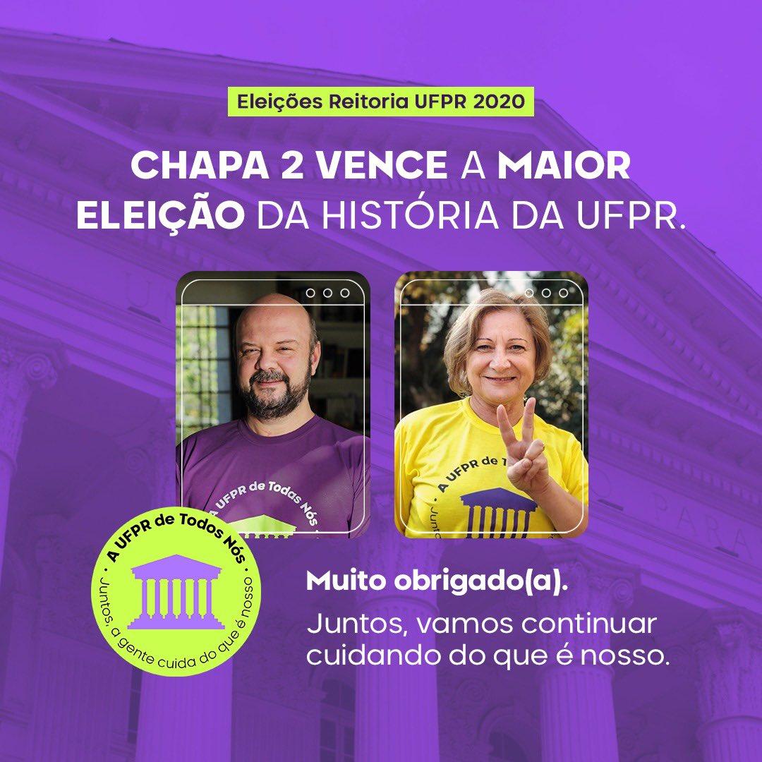 """A UFPR de Todos Nós - Chapa 2 on Twitter: """"VENCEMOS! 🎉👏😀 OBRIGADO(A)! A  maior e mais inclusiva eleição da história da UFPR, com um total de 17. 255  votantes! Ficou evidente"""