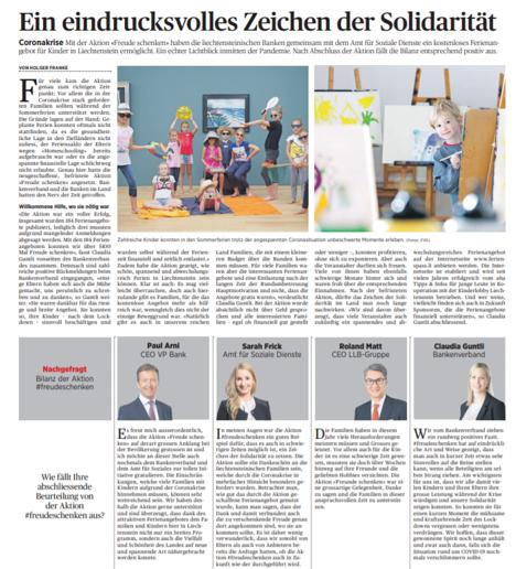 Wir sagen Danke @Volksblatt für das positive Fazit unserer Solidaritätsaktion #freudeschenken für Kinder in #Liechtenstein. Der Erfolg hat gezeigt, dass die Aktion sinnvoll war & wir die Familien entlasten & Ihnen unsere Dankbarkeit so zeigen konnten. https://t.co/UcMQiDfaB5 https://t.co/IZmunryNO6