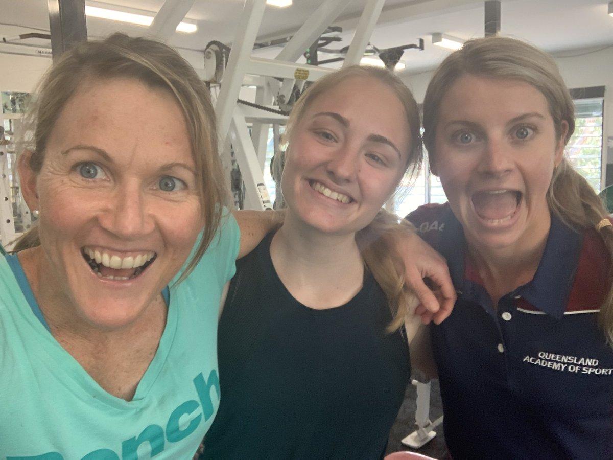 Grateful for the strong women around me in high performance sport. The three K's at our regular S&C - me, Katie Hayward (National Champ Walking @AthsAust ) & Kelly Penfold (Lead Triathlon S&C Coach @QldAcademySport) #womeninsport @HarveyNormanAU https://t.co/zAq90qrku4