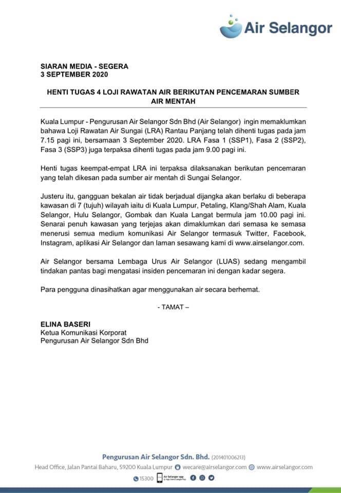 Kuala Lumpur Reporter On Twitter Water Disruption In Kuala Lumpur And Selangor Is Expected Due To The Stoppage Of The Sungai Rantau Panjang Water Treatment Plant Following The Discovery Of Some Pollutants
