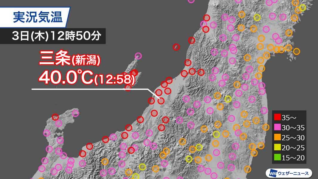 【速報】新潟県三条で9月としては日本で初めて40℃を記録しました。台風9号に向かって吹き込む風がフェーン現象を引き起こし、北陸など日本海側で記録的な暑さになっています。 weathernews.jp/s/topics/20200…