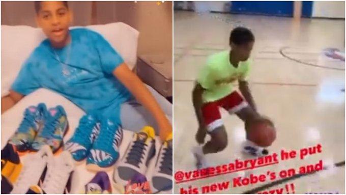 【影片】甜瓜兒子上腳Kobe戰靴,大秀控球技巧,母親拍影片艾特瓦妮莎!