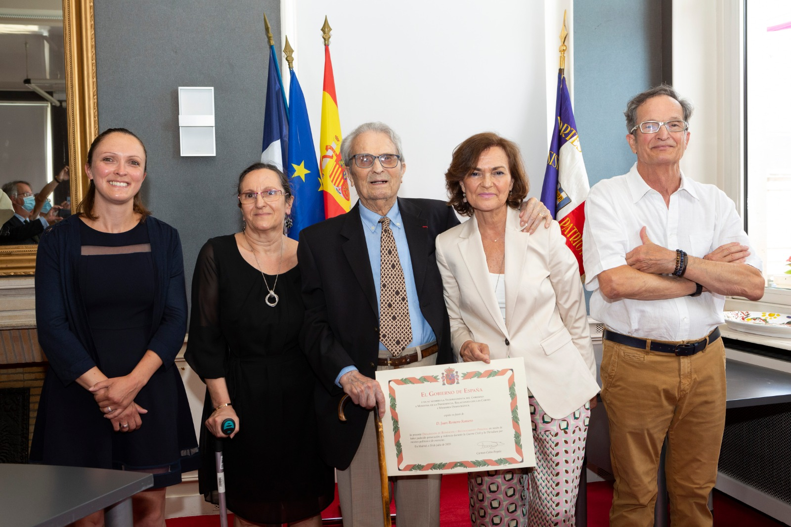 Carmen Calvo, con Juan Romero