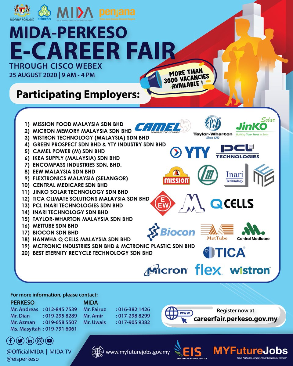 Employment Insurance System A Twitter Interested Job Seekers Are Invited To Join This E Career Fair To Have The Opportunity To Be Interviewed By Employers Registered Under The Mida Network Which Is A
