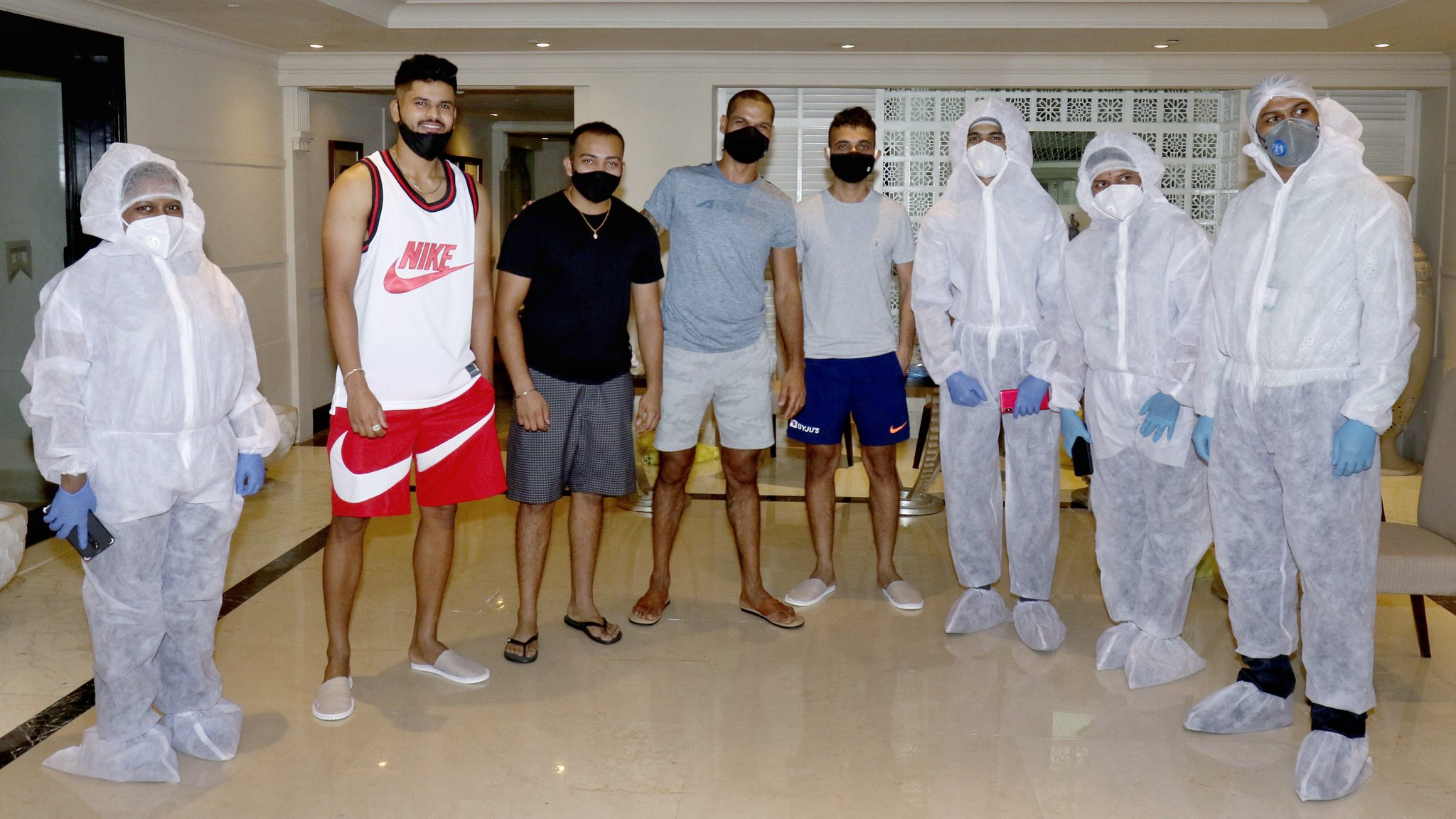 Delhi  Capitals players and staff  before departure for UAE. (Credits: Twitter/Delhi Capitals)