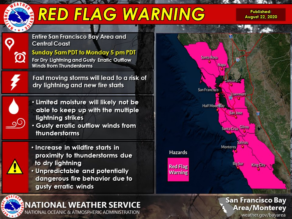 """NWS Bay Area on Twitter: """"RED FLAG WARNING has been issued for the entire  San Francisco Bay Area and Central Coast from 5 am Sunday to 5 pm MONDAY  (updated) for Dry"""