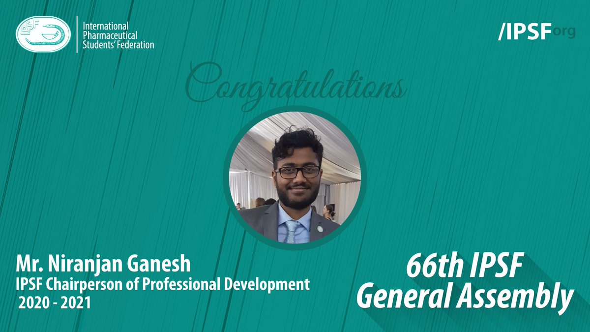 Congratulations to Mr. Niranjan Ganesh (MAPS, India) for being elected to the position of IPSF Chairperson of Professional Development 2020 - 2021 #IPSForg #66thGeneralAssembly https://t.co/OZee9ZGk6Z