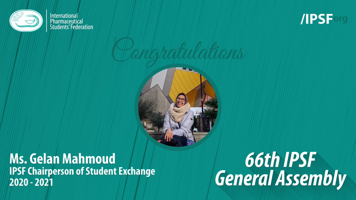 Congratulations to Ms. Gelan Mahmoud (EPSF, Egypt) for being elected to the position of IPSF Chairperson of Student Exchange 2020 - 2021 #IPSForg #66thGeneralAssembly https://t.co/S8ca0WxgUR
