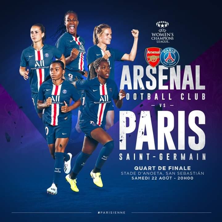 MATCH DAY #UWCL 1/4 Final Arsenal v #PSG 1pm cdt CBS ALL ACCESS & UEFA YouTube Channel #PSG_Feminines https://t.co/Du3Z7ntZyh