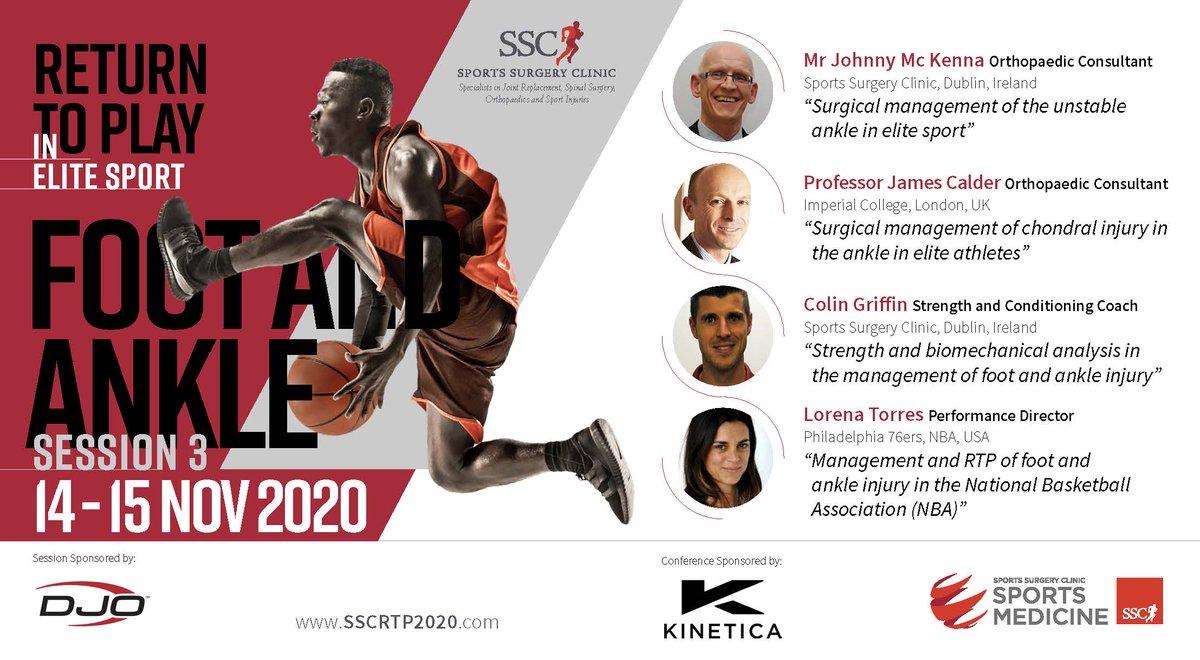 #SSCRTP2020 Conf Session 3 Sat 14th Nov #ankle   @SSCSantry Mr Johnny Mc Kenna #stability @FortiusClinicUK Prof James Calder #chondral @sixers @lorenatorres07 #NBA @sscsportsmed @colingriffin #biomechanics   #RTP #testing #surgery  @DJOGlobal   Register at https://t.co/ptzvNdPsFf https://t.co/I82kRSY3Eq