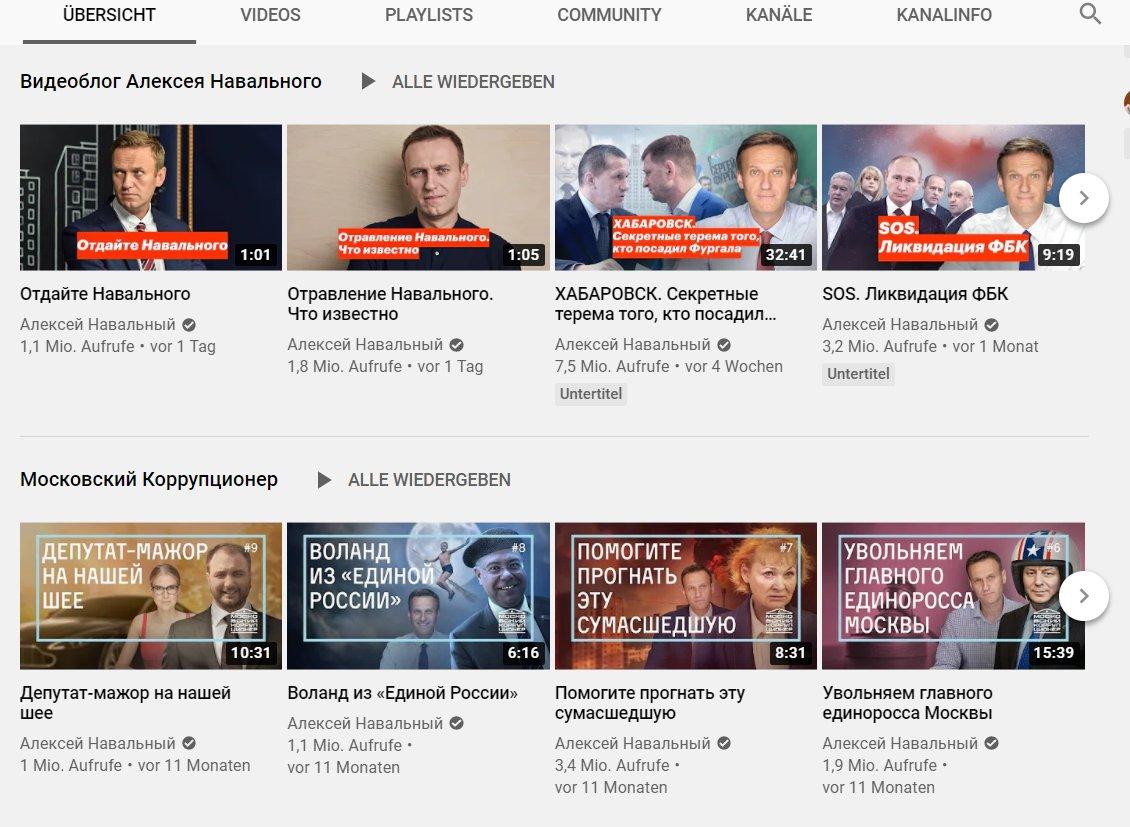 Einige Videoproduktionen des Alexej Nawalny auf YouTube