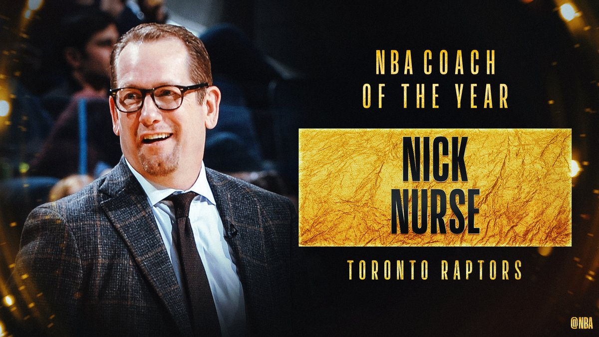 A Nick Nurse il premio di Coach of the Year, battuti Budenholzer e Donovan