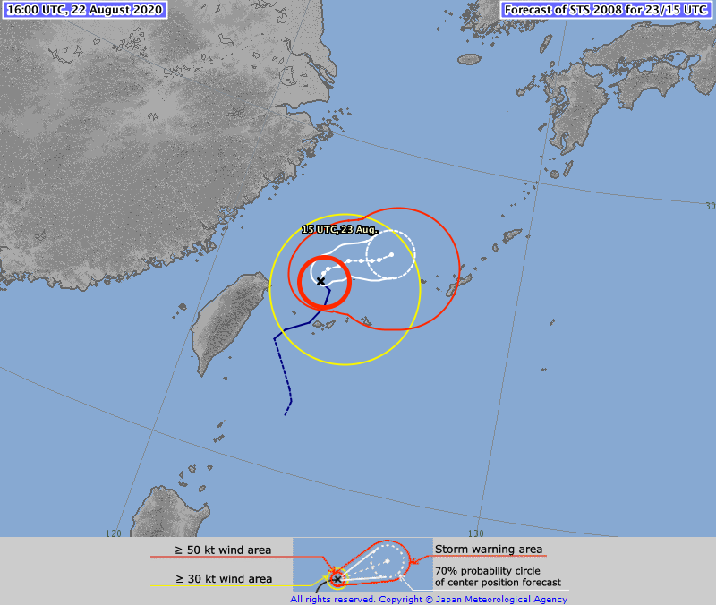 ⚠️ Severe Tropical Storm #BAVI #09W 22/1600Z 25.6°N 123.5°E, moving N 07kt. Max sus wind 55kt, gusts to 80kt. 990hPa (RSMC Tokyo)  Expected to become a Typhoon by 23 Aug, 12:00 UTC (TSR UCL London data)  >>>>https://t.co/MhoxvTZa1S https://t.co/Ch3EiPfQVb