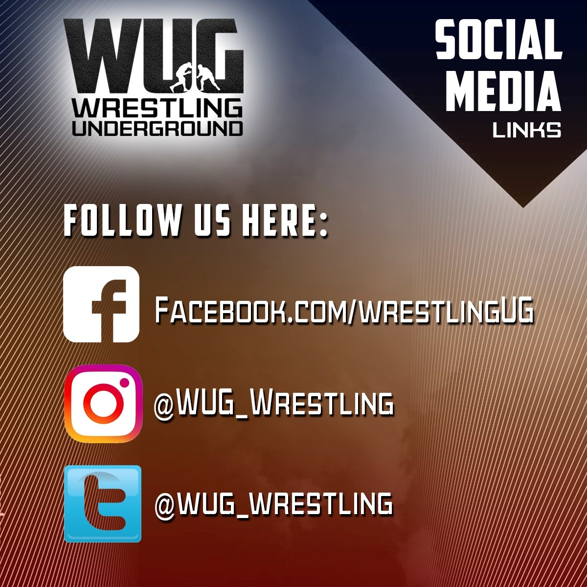 We're on social media! You can follow us now on Facebook, Instagram and Twitter.   To those who have already followed, THANK YOU! Please share the word!  #wug #wug1 #wrestlingislife #wrestlingunderground #wrestle #wrestlers #freestylewrestling #grecoromanwrestling #chaelsonnen https://t.co/nHZnZ36gqo