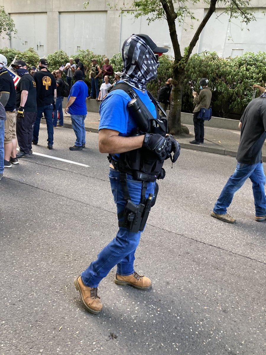 I'd say about 75% of the MAGA crowd is armed with something. Prob 1/3 of those have guns, others have tasers, ax handles and bats—and one weirdo had his bat in a hostler.