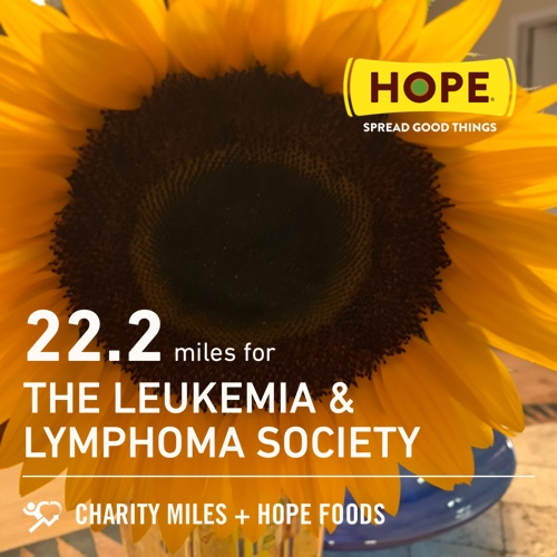 Can't stop, won't stop... 22.2 @CharityMiles for @LLSusa. Thx @HopeHummus for sponsoring me! #SpreadHope #justkeepmoving #moveyourass https://t.co/jsMzBnYgLC