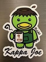 """Hey, all! Just made a new 3"""" vinyl sticker thanks to Sticker Mule • KAPPA JOE • A Kappa is a Japanese water spirit and he's drinking some coffee  - a cup of joe.... Get it?! :D You can get these at my online store https://t.co/LiDcYup4PY   https://t.co/shnT8tLwBJ https://t.co/0Au2o8AoRH"""