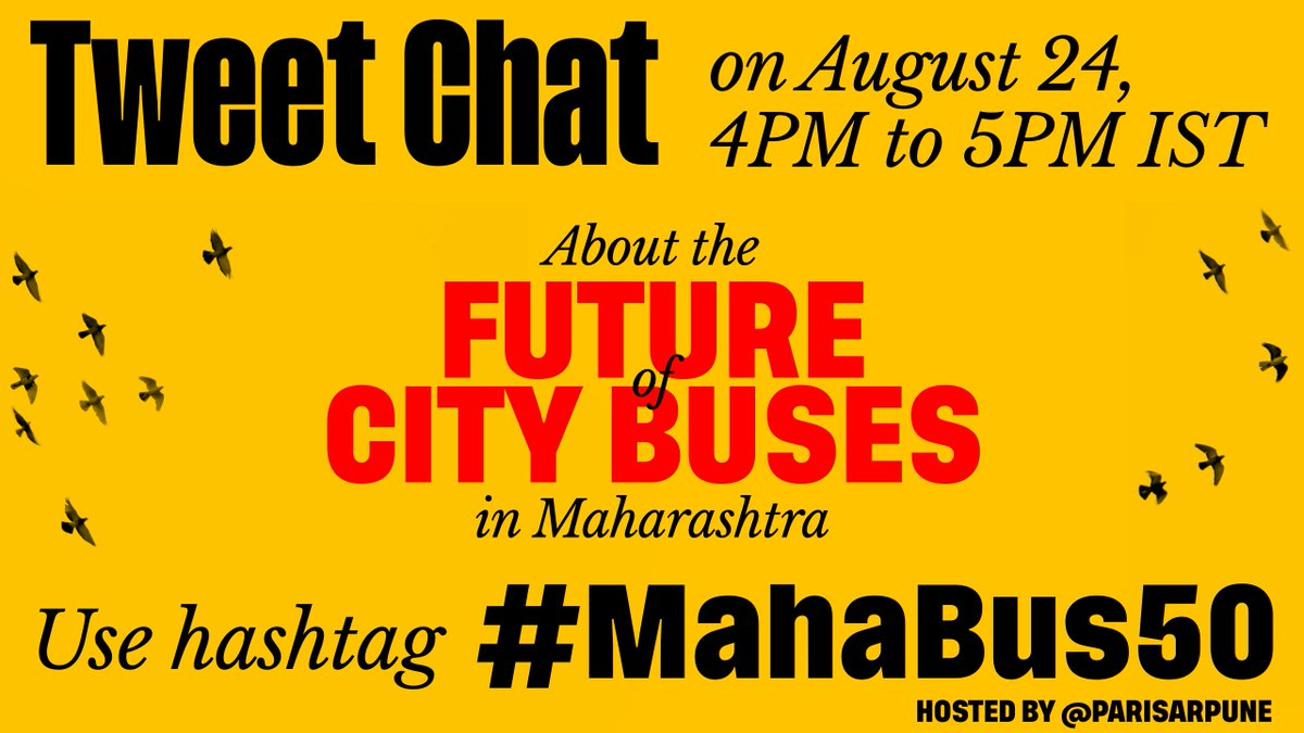 Pls join this important Twitter chat today, August 24th, 4PM to share your thoughts on the Future of Bus Transport in your city. Participate using the hashtag, #MahaBus50  #BuildBackBetter #BeginAgainBetter #lakhko50