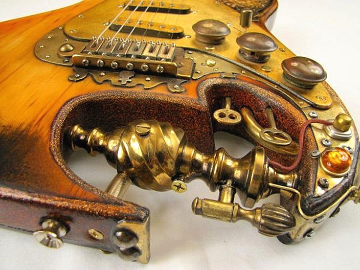 #Steampunk ⚙️ Awesome of the Day: Custom Made #Guitar 🎸 With Brass Keys 🗝 via @SteampunkRadio #SamaGuitars #SamaMusic 🎶