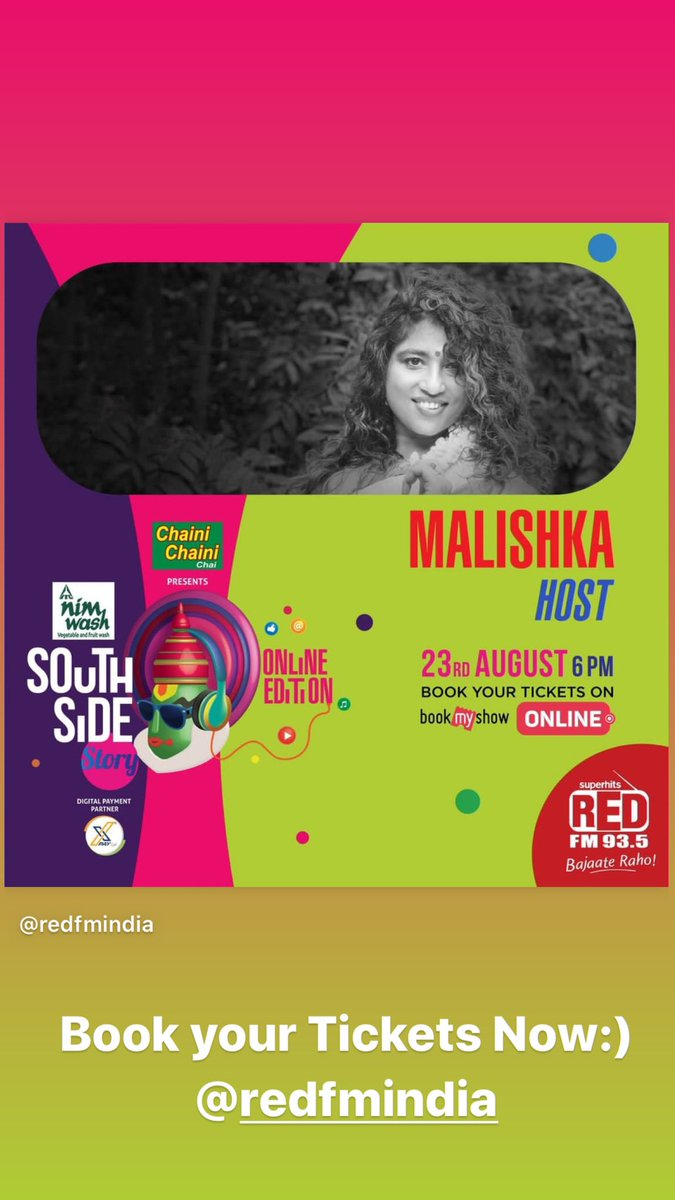 I luuuuuuurve hosting shows that bring you music And Culture! I firmly believe I've hosted the most virtual concerts this lockdown and this eve should be another mindblast! 6 pm. Book your ticket. I've learnt Malayalam for the show😄🙏🏽 @RedFMIndia #southsidestory https://t.co/mVo5ztk6xQ