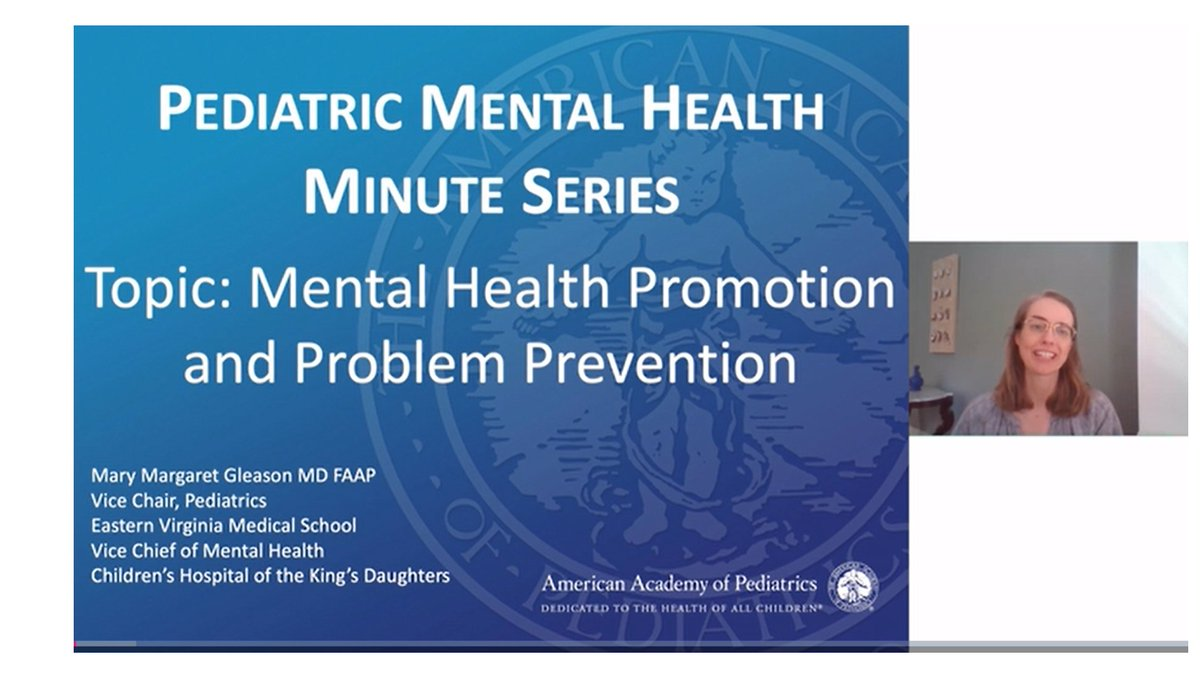 Have you seen the @AmerAcadPeds  #MentalHealthMinute series?  Excited to contribute on one of my favorite topics that is SOOO desperately needed right now!  Lots of other great talks too...  #prevention #wellbeing @CHKD @EVMS https://t.co/i7kD6wQCRu