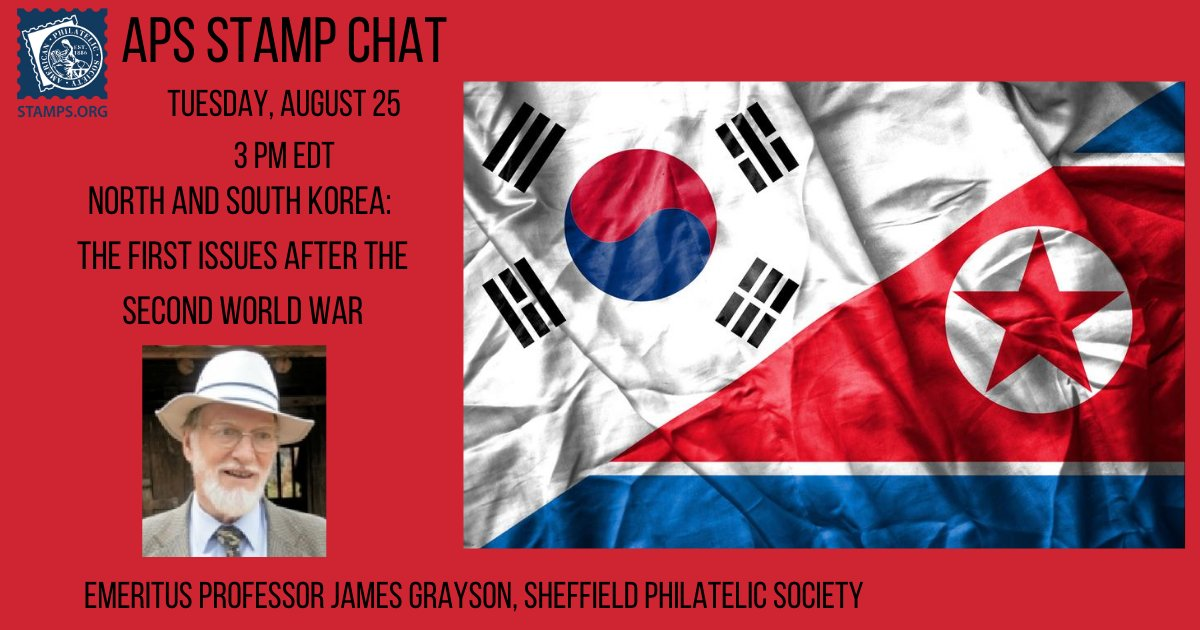 Our very own Board member prof. (em.) James Grayson will talk about the first Korean stamp issues after the end of WWII. #Stamps #Philately #우표취미 #우표