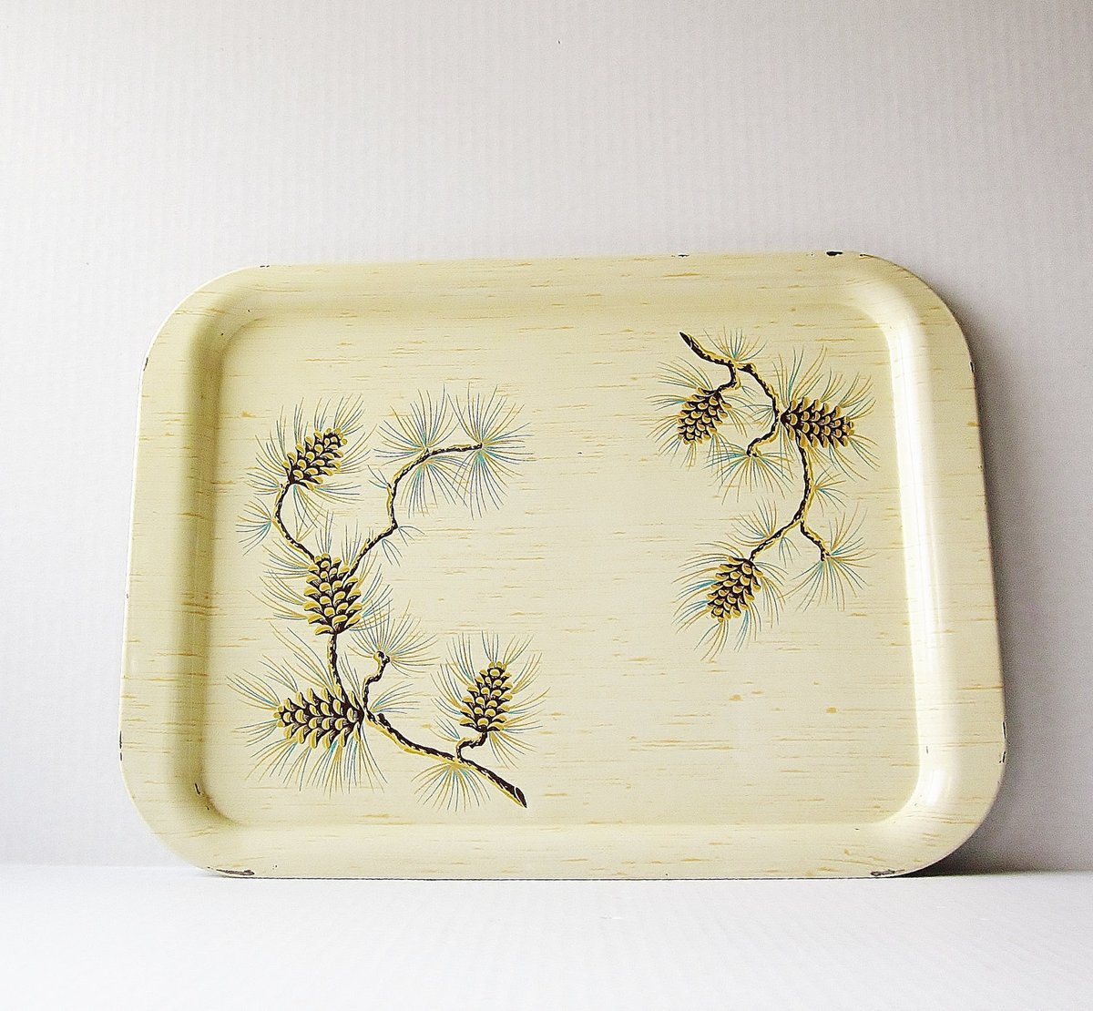 Robin Hahn On Twitter Faux Birch Bark Pinecone Metal Serving Tray Vintage Tv Tray Large Serving Tray Mid Century 1950s 1960s Kitsch Winter Home Decor Https T Co Ayxilngxez Beige Yellow Metal Vintagetray Metaltray Servingtray