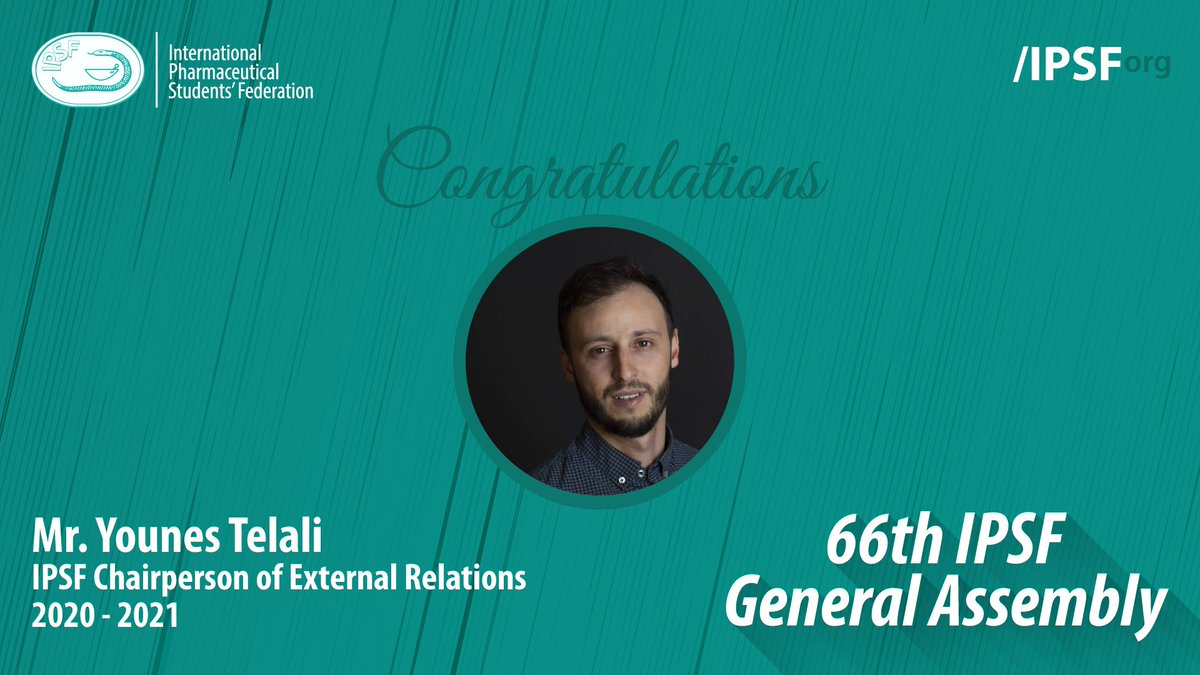 Congratulations to Mr. Younes Telali (ANEPF, France) for being elected to the position of IPSF Chairperson of External Relations 2020 - 2021 #IPSForg #66thGeneralAssembly https://t.co/BZBel8UduI