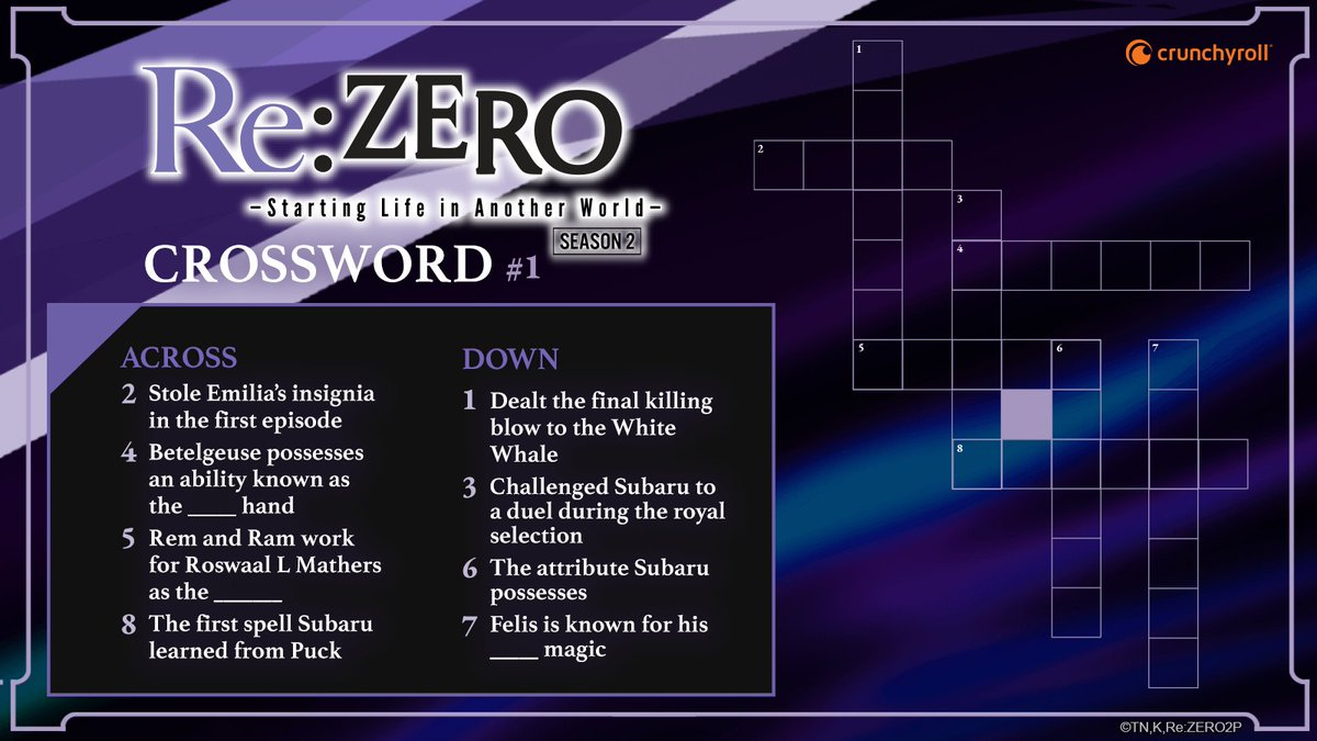Crunchyroll On Twitter Re Zero Crossword Can You Solve It Share Your Answers In The Comments And Remember To Use The Clues