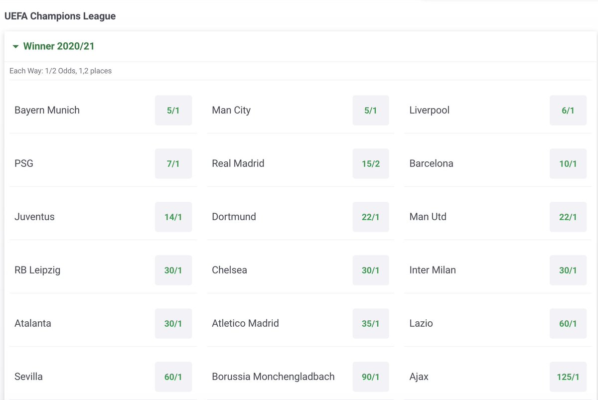 Champions league outright betting paddy power market betting