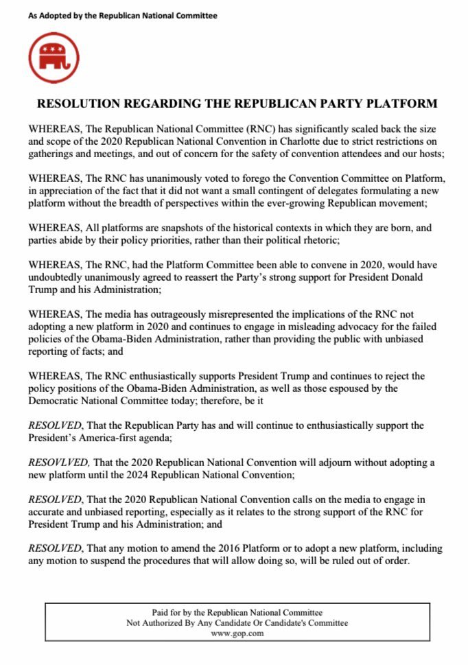 """😳  The GOP just announced that there is no 2020 platform this year other than to reassert """"the Party's strong support for President Donald Trump and his Administration."""" https://t.co/0wEF2Dnco3"""