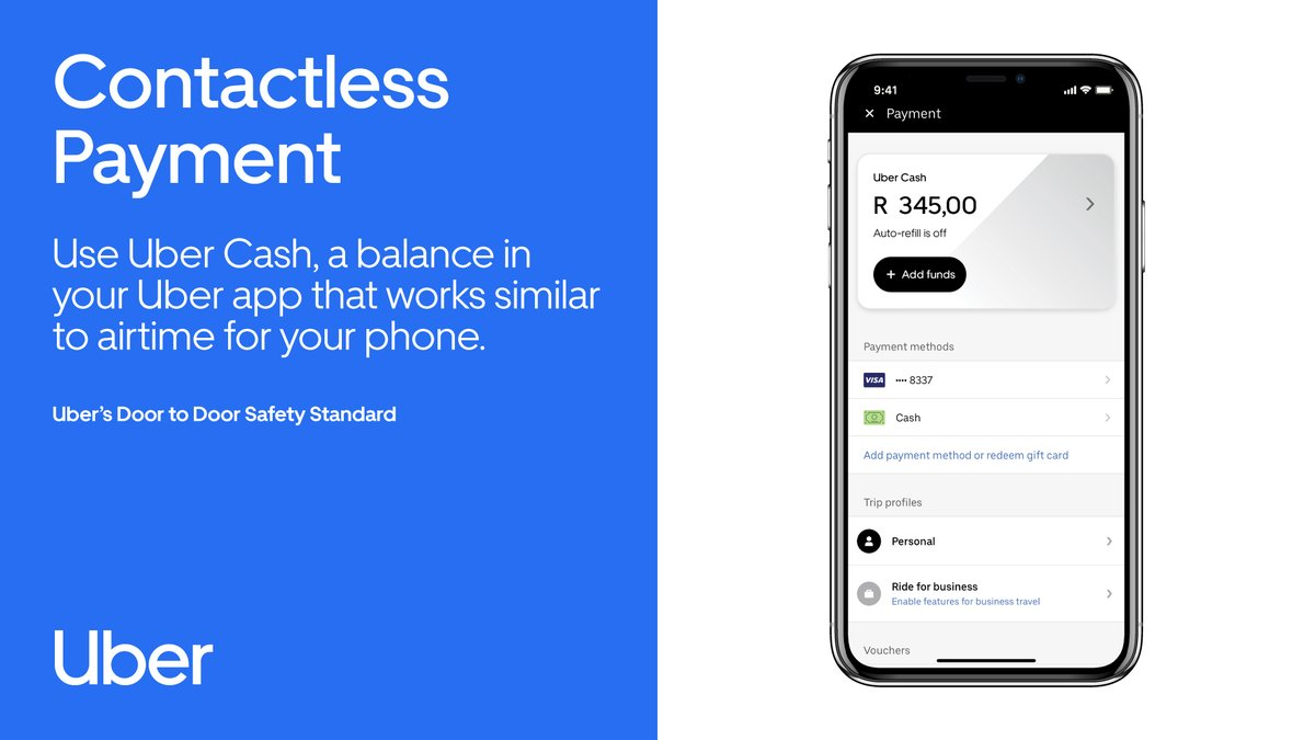 Contactless Payment: Riders are encouraged to switch to Uber Cash, a new digital payment option. Top up your balance to plan ahead for future trips while managing your spend. Find out more about Uber's Door to Door Safety Standard at https://t.co/kYPtDWOAtr. #RideSafeWithUber https://t.co/NnUUbXe0T1