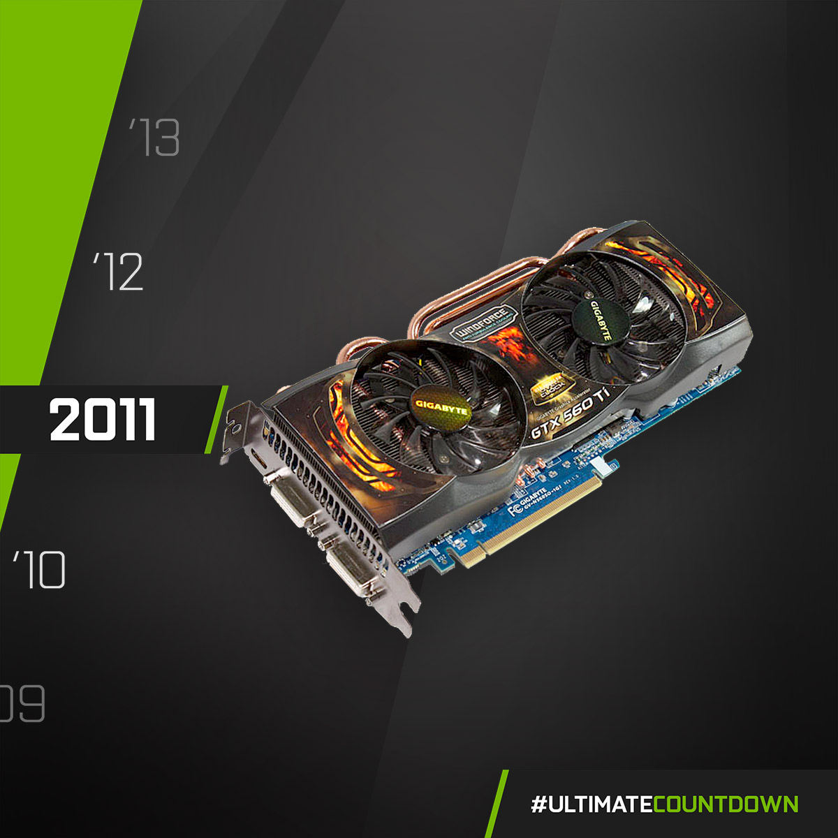 NVIDIA GeForce GTX 560 Ti - 2011  Looking back at the GIGABYTE GTX 560 Ti SOC, with the best performance and thermal design of the year, and also a retro rock style look!  #UltimateCountdown #UltimateAORUS #GIGABYTE https://t.co/1eBN3n71b9