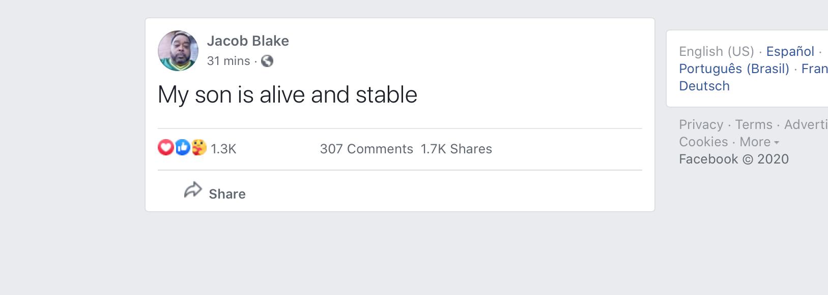 "🌞🖖🏻 Harcourt Fenton Mudd ✌🏻🌞 on Twitter: ""On #Facebook his father  says, ""my son is alive and stable"" #JacobBlake #Kenosha #kenoshawisconsin  https://t.co/jtiqJ0KZyv… https://t.co/tGznOkd8Ze"""