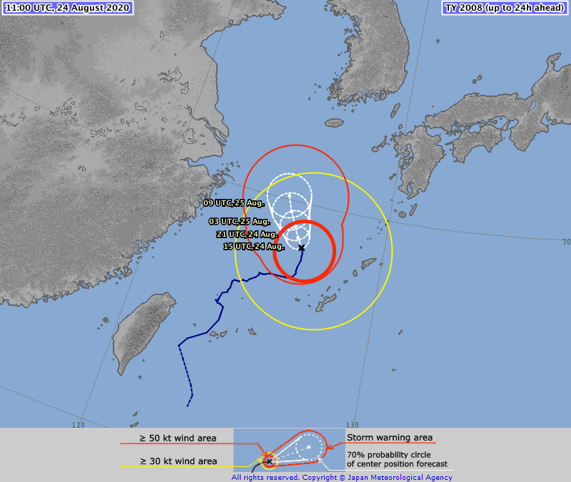 ⚠️ TYPHOON #BAVI #09W 24/1100Z 28.3°N 126.4°E, moving N Slow. Max sus wind 65kt, gusts to 95kt. 975hPa (RSMC Tokyo) Expected CAT 2 storm on Saffir Simpson Hurricane Wind Scale by 18:00 UTC today and intensify to CAT 3 by 25 Aug, 6:00 (TSR UCL London data)  https://t.co/MhoxvTZa1S https://t.co/wp9QnfVsnc