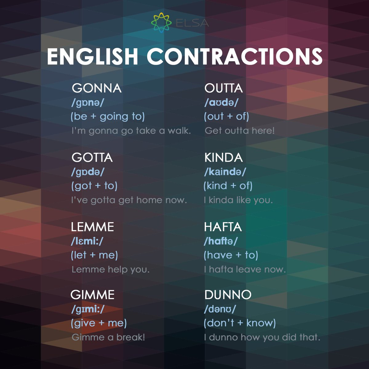 Contractions can help you in sounding more natural during conversations. Improve your listening ability as well as fluency through contractions. Learn with Elsa Speak to improve your spoken English. Download at https://t.co/bENiEpfRpe.  #EnglishTips #SpokenEnglish #LearnMore https://t.co/PmSsEFVLpx